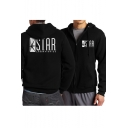 STAR Letter Graphic Print Zip Up Long Sleeve Hoodie with Pockets