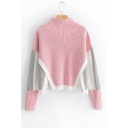 High Collar Color Block Long Sleeve Split Hem Pullover Sweater