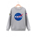 Round Neck Long Sleeve NASA Letter Planet Print Pullover Sweatshirt
