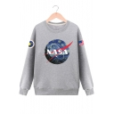 Drawing NASA Letter Print Round Neck Long Sleeve Unisex Sweatshirt