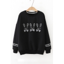 Bow Embellished Rabbit Pattern Round Neck Long Sleeve Pullover Sweatshirt