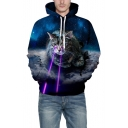 3D Cat Galaxy Print Long Sleeve Unisex Loose Hoodie