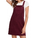 Corduroy Plain Straps Sleeveless Mini Overall Dress
