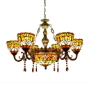 Tiffany Stained Glass Tulip Pattern 6-Arm Inverted Chandelier with Amber Crystal Droplets