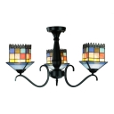 Lodge Style Small House Shade Multi-Light Ceiling Light Fixture with Adjustable Black Arms