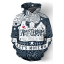 Cartoon Letter Bicycle Print Long Sleeve Loose Hoodie