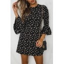 Floral All Over Print Round Neck 3/4 Length Sleeve Mini A-Line Dress