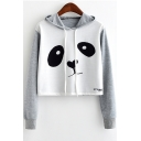 Color Block Panda Print Long Sleeve Cropped Hoodie