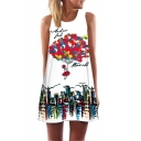 New Arrival Cartoon Printed Round Neck Sleeveless Casual Mini Tank Dress