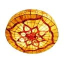 Floral Theme Natural Shell Flush Mount Ceiling Light in Tiffany Style 2 Sizes Available