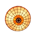 Orange&White Circular Grid Flushmount Ceiling Light in Tiffany Stained Glass Style 3 Sizes for Option