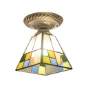 Tiffany Stained Glass Geometric Pattern Square Semi Flush Lighting with Metal Canopy