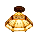 Craftsman Style 1 Light Tiffany Semi Flush Mount Light with Amber Hexagon Shade