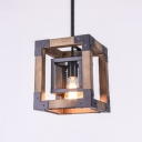 Industrial Style Indoor One Light Pendant Light with Wood Iron Frame Shade, 8.66