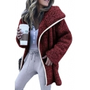 Winter Collection Plain Long Sleeve Contrast Trim Patch Open Front Sherpa Coat
