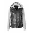 Contrast Leather Patchwork Long Sleeve Zip Placket Hooded Jacket