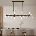 Simple and Elegant Home Decoration LED Frosted Linear Chandelier 18 Light/24 Light Black Metal Windmill LED Chandelier for Dining Table Clothes Stores Foyer
