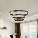 Modern Linear Chandelier Single Ring/Double Ring/Three Ring Circular LED Chandelier Brushed Aluminum 20/85/90W High Bright Santurn Pendant Lamp