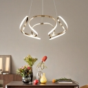 Low Profile Chandeliers Chrome Curved LED Pendant Light 23.62