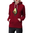 Avocados Print Long Sleeve Leisure Hoodie