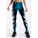 Elastic Waist Moon Galaxy Print Skinny Leggings