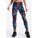 Colorful Pattern Elastic Waist Skinny Yoga Leggings