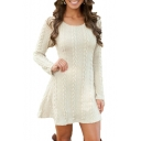 Plain Twist Detail Round Neck Long Sleeve Mini Sweater Dress