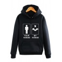 YOUR HUSBAND Letter Character Print Drawstring Hood Long Sleeve Hoodie