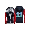 11 Letter Print Color Block Long Sleeve Zip Up Faux Fur Lined Hooded Jacket