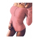 Off The Shoulder Long Sleeve Plain Ribbed Slim Bodysuit