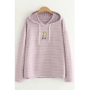 Moon Embroidered Striped Long Sleeve Casual Hoodie
