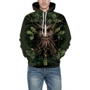 3D Tree Monster Print Long Sleeve Unisex Hoodie