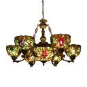 Rustic Style Fruit Theme 7-Light Tiffany Stained Glass Chandelier with 12