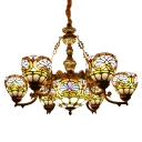 Baroque Stained Glass Center Bowl Chandelier with 6/8 Small Bowl Shades for Living Room
