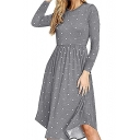 Casual Polka Dot Print Round Neck Long Sleeve Midi A-Line Dress