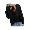 Round Neck Plain Long Sleeve Crisscross Hollow Out Back Loose Sweater