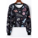 Cartoon Rocket Print Round Neck Long Sleeve Cropped