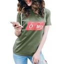 OMG Letter Print Round Neck Short Sleeve T-Shirt