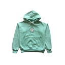 Drawstring Hood Floral Letter Embroidered Long Sleeve Hoodie