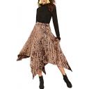 Metal Color Elastic Waist Pleated Maxi Asymmetrical Skirt