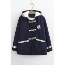 Cute Bear Embroidered Long Sleeve Button Front Plush Lined Hooded Coat