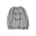Casual Smile Face Print Round Neck Long Sleeve Sweatshirt