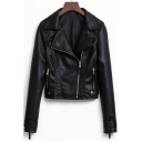 Notched Lapel Collar Long Sleeve Offset Zip Closure Cropped Leather Jacket