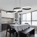 Double-Sided LED Twist LED Chandelier 32/50W Black Acrylic Curved LED Pendant Lighting in Small/Large Size for Office Study Room Dining