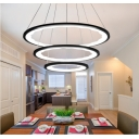 Black Modern Chandelier Light 63/113W 15.75
