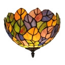 Leaf Design Bowl Shade Tiffany Ceiling Light Fixture 7 Inch High for Bedroom Hallway