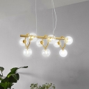 Handblown Clear Glass LED Chandeliers Ultra Modern 9 Head Gold Glass Bubbles LED Hanging Light 2 Colors for Option