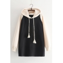 Tassel Detail Drawstring Waist Color Block Raglan Sleeve Cat Print Back Tunic Hoodie