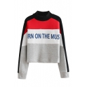 Vintage Color Block Letter Print Mock Neck Long Sleeve Sweatshirt