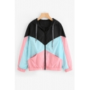 Color Block Drawstring Hood Long Sleeve Zip Up Elastic Hem Hooded Jacket